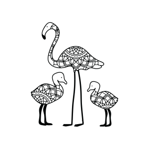 coloring book Mom and Baby Flamingos